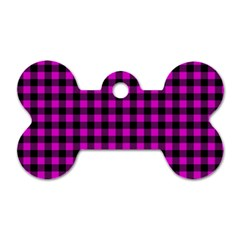 Lumberjack Fabric Pattern Pink Black Dog Tag Bone (two Sides) by EDDArt