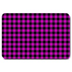Lumberjack Fabric Pattern Pink Black Large Doormat  by EDDArt