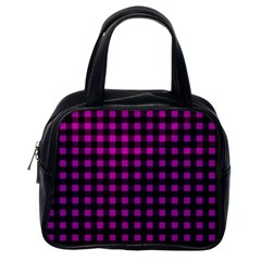 Lumberjack Fabric Pattern Pink Black Classic Handbags (one Side) by EDDArt