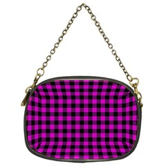 Lumberjack Fabric Pattern Pink Black Chain Purses (one Side)  by EDDArt