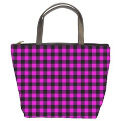 Lumberjack Fabric Pattern Pink Black Bucket Bags by EDDArt
