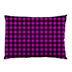 Lumberjack Fabric Pattern Pink Black Pillow Case by EDDArt