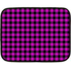 Lumberjack Fabric Pattern Pink Black Fleece Blanket (mini) by EDDArt