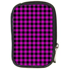 Lumberjack Fabric Pattern Pink Black Compact Camera Cases by EDDArt