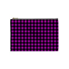Lumberjack Fabric Pattern Pink Black Cosmetic Bag (medium)  by EDDArt
