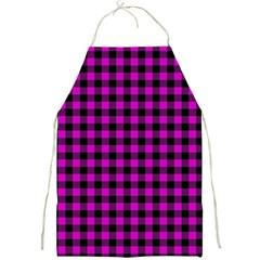 Lumberjack Fabric Pattern Pink Black Full Print Aprons by EDDArt