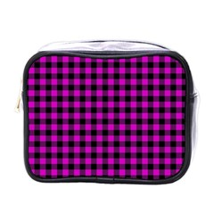 Lumberjack Fabric Pattern Pink Black Mini Toiletries Bags by EDDArt