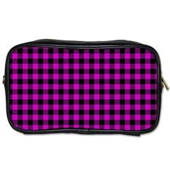 Lumberjack Fabric Pattern Pink Black Toiletries Bags 2 Side by EDDArt
