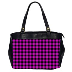 Lumberjack Fabric Pattern Pink Black Office Handbags (2 Sides)  by EDDArt