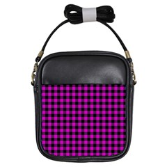 Lumberjack Fabric Pattern Pink Black Girls Sling Bags by EDDArt