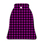 Lumberjack Fabric Pattern Pink Black Ornament (Bell) Front
