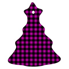 Lumberjack Fabric Pattern Pink Black Christmas Tree Ornament (two Sides) by EDDArt