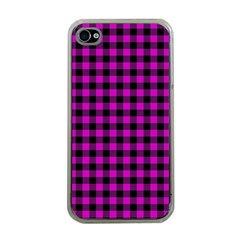 Lumberjack Fabric Pattern Pink Black Apple Iphone 4 Case (clear) by EDDArt