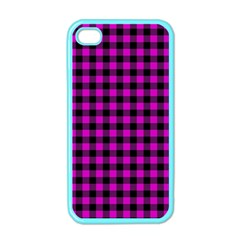 Lumberjack Fabric Pattern Pink Black Apple Iphone 4 Case (color) by EDDArt
