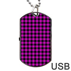 Lumberjack Fabric Pattern Pink Black Dog Tag Usb Flash (two Sides) by EDDArt