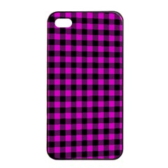 Lumberjack Fabric Pattern Pink Black Apple Iphone 4/4s Seamless Case (black) by EDDArt