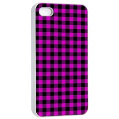Lumberjack Fabric Pattern Pink Black Apple Iphone 4/4s Seamless Case (white) by EDDArt