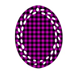 Lumberjack Fabric Pattern Pink Black Oval Filigree Ornament (two Sides) by EDDArt