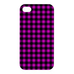 Lumberjack Fabric Pattern Pink Black Apple Iphone 4/4s Premium Hardshell Case by EDDArt