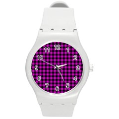 Lumberjack Fabric Pattern Pink Black Round Plastic Sport Watch (m) by EDDArt