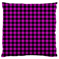 Lumberjack Fabric Pattern Pink Black Large Cushion Case (two Sides) by EDDArt