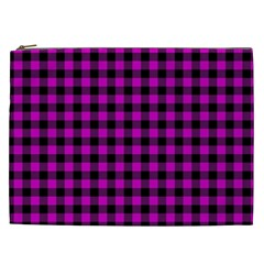 Lumberjack Fabric Pattern Pink Black Cosmetic Bag (xxl)  by EDDArt