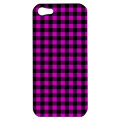 Lumberjack Fabric Pattern Pink Black Apple Iphone 5 Hardshell Case by EDDArt
