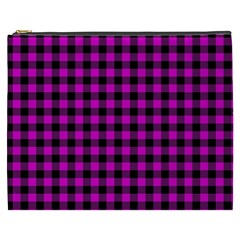 Lumberjack Fabric Pattern Pink Black Cosmetic Bag (xxxl)  by EDDArt