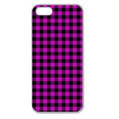 Lumberjack Fabric Pattern Pink Black Apple Seamless Iphone 5 Case (clear) by EDDArt