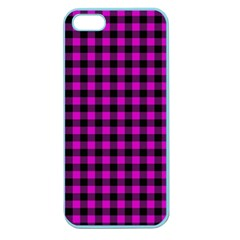 Lumberjack Fabric Pattern Pink Black Apple Seamless Iphone 5 Case (color) by EDDArt