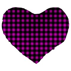 Lumberjack Fabric Pattern Pink Black Large 19  Premium Heart Shape Cushions by EDDArt