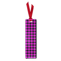 Lumberjack Fabric Pattern Pink Black Small Book Marks by EDDArt