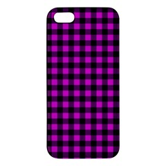 Lumberjack Fabric Pattern Pink Black Apple Iphone 5 Premium Hardshell Case by EDDArt