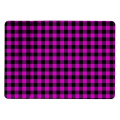 Lumberjack Fabric Pattern Pink Black Samsung Galaxy Tab 10 1  P7500 Flip Case by EDDArt