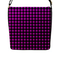 Lumberjack Fabric Pattern Pink Black Flap Messenger Bag (l)  by EDDArt