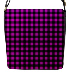 Lumberjack Fabric Pattern Pink Black Flap Messenger Bag (s) by EDDArt