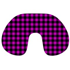 Lumberjack Fabric Pattern Pink Black Travel Neck Pillows by EDDArt