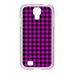 Lumberjack Fabric Pattern Pink Black Samsung Galaxy S4 I9500/ I9505 Case (white) by EDDArt