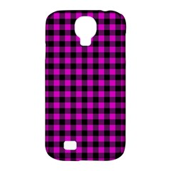Lumberjack Fabric Pattern Pink Black Samsung Galaxy S4 Classic Hardshell Case (pc+silicone) by EDDArt