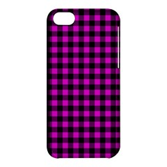 Lumberjack Fabric Pattern Pink Black Apple Iphone 5c Hardshell Case by EDDArt