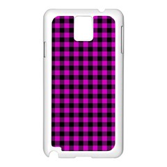 Lumberjack Fabric Pattern Pink Black Samsung Galaxy Note 3 N9005 Case (white) by EDDArt