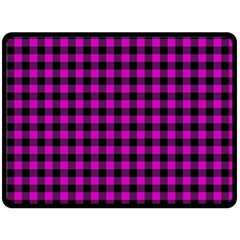 Lumberjack Fabric Pattern Pink Black Double Sided Fleece Blanket (large)  by EDDArt