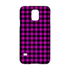 Lumberjack Fabric Pattern Pink Black Samsung Galaxy S5 Hardshell Case  by EDDArt