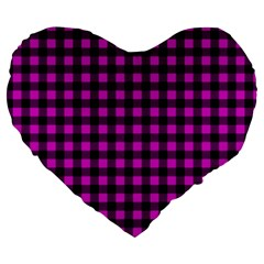 Lumberjack Fabric Pattern Pink Black Large 19  Premium Flano Heart Shape Cushions by EDDArt