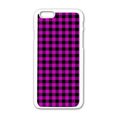Lumberjack Fabric Pattern Pink Black Apple Iphone 6/6s White Enamel Case by EDDArt