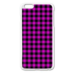 Lumberjack Fabric Pattern Pink Black Apple Iphone 6 Plus/6s Plus Enamel White Case by EDDArt