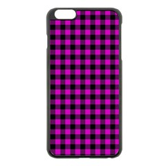 Lumberjack Fabric Pattern Pink Black Apple Iphone 6 Plus/6s Plus Black Enamel Case by EDDArt