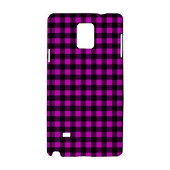 Lumberjack Fabric Pattern Pink Black Samsung Galaxy Note 4 Hardshell Case by EDDArt