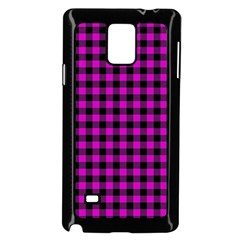 Lumberjack Fabric Pattern Pink Black Samsung Galaxy Note 4 Case (black) by EDDArt