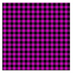 Lumberjack Fabric Pattern Pink Black Large Satin Scarf (square) by EDDArt